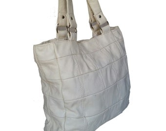 Ivory rustic leather bag / tote purse / distressed  pattern retro style shoulder handbag laura