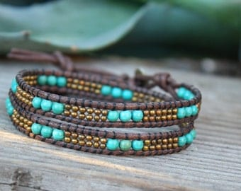 Double Wrap Bracelet,  Boho Bracelet, Vegan Beaded Wrap, Beaded Wrap, Blue Green Magnesite, Brass Wrap Bracelet, Vegan Jewelry, Single Wrap