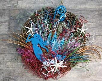 Mermaid Coral Reef Wreath~Starfish Wreath~ Coastal Wreath~Beachy Wreath~Seahorse Wreath