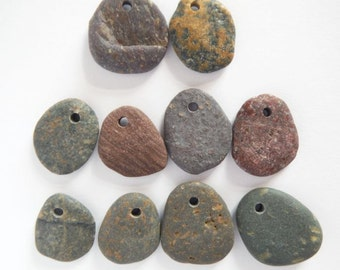 Top Drilled Beach Pebble Beads - Set of 10