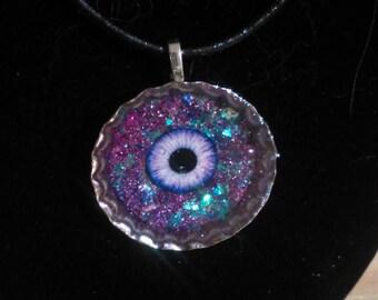 Galaxy Eye Bottlecap Necklace~