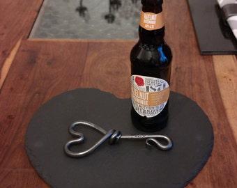 I Love U Bottle Opener - Heart Design - Blacksmith Hand Forged