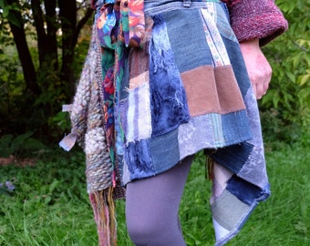 Woman grey skirt Gypsy skirt Wrap skirt Plaid skirt with recycled denim Patchwork skirt Eco clothing Mini skirt Hand woven Winter skirt