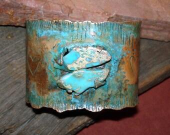 Copper cuff/jasper stones/textured bracelet/mens or womens/rustic jewelry