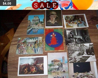 SALE Vintage antique postcards lot of 10 mixed group Roma museum art libra Gallery canada