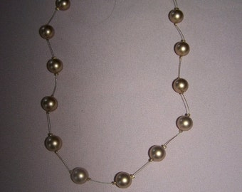 50% OFF Carolee beads, vintage Illusion necklace, golden color bead necklace