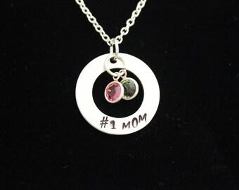 No. 1 Mom Hand Stamped Necklace with Swarovski Crystal Birthstones
