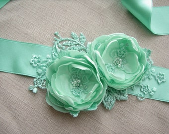 Mint green Wedding Sash, Bridal Belt, Bridesmaid Dress Belt