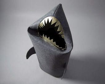 New! SHARK anthracite. Felt laundry basket for bathroom or children's room as a basket for toys from Uczarczyk, shark with gold teeth