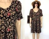 MINIMALIST 90's Dress Gauze Grunge Dress Boho Dress Rayon Slouchy Mini Black with Flowers Hippie Dress Summer 80s Dress Baggy Sack Clothing