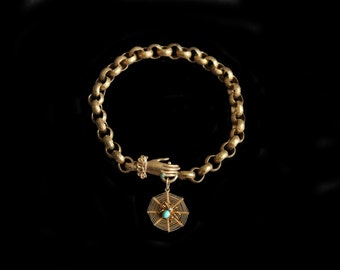 SOLD- Reserved for Susan-Next Payment-MoonsCuriousItems- Antique Gold Bracelet, Hand Clasp   &  Turquoise and Pearl Spider On Web