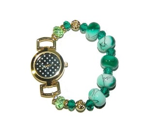 Ladies Watch, Beaded Watch Band, Stretchable Watch