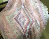 Shades of Pink, Purple, Lilac and White Textured Crochet Afghan/Lap Rug