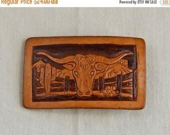 25% off SALE... Vintage leather belt buckle…long horn belt buckle…bull belt buckle.