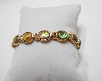 Vintage Gold Tone Bracelet (0875) Framed Abalone Cabochons