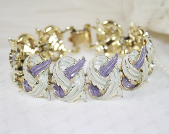Lavender Coro Enameled Bracelet Vintage Lavender White Bracelet Vintage Wedding Bracelet Gift For Her