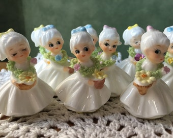 Complete Set of 12 Flower Girl of Month Figurines Napcoware Japan Vintage 1960s