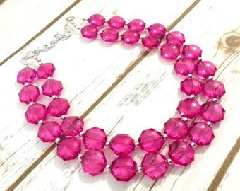 Dark Pink Double Strand statement necklace - pretty big beaded chunky jewelry - Fuchsia Bib Set