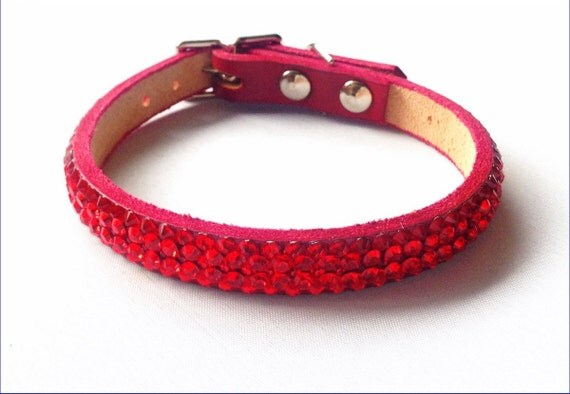 """Custom Leather Pet Collar 10-12"""" Super Bling Cherry Red Exclusive 3D Iced w/ Swarovski Crystal Rhinestone Cat Small Dog or Breakaway Safety"""