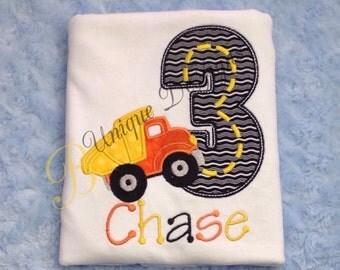 Dump Truck Shirt, Applique Birthday Shirt, Appliqué Truck Shirt, Construction Theme T-Shirt or Bodysuit, Tops, Applique Dumptruck Shirt