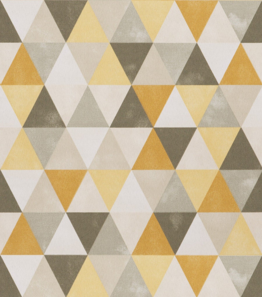 On Sale Dark Yellow Grey Geometric Upholstery Fabric