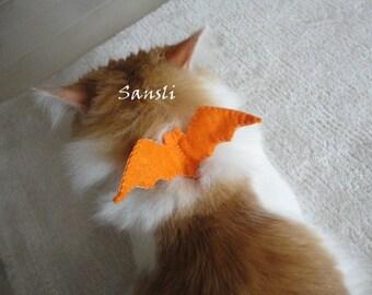 Cat collar-adjustable collar-custom collar-crochet cat collar-cat accessories-bat cat collar-halloween cat collar-orange and gray cat collar