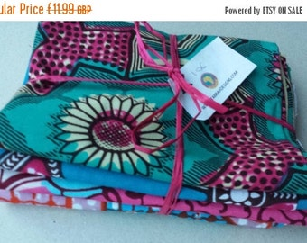 BANK HOLIDAY SALE Bundle of 4 Fat quarters African wax print fabric smaller pieces craft project quilting applique embroidery Bundle 106