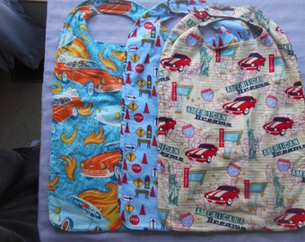 Cars and Classics LARGE CLOTHES PROTECTORS (Reversible Bibs) with Velcro fastener