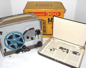Vintage 1950s Kodak Brownie Model 1 300 8mm Film Silent Movie Projector & Reel with instructions, preview screen in the box and Serviced!