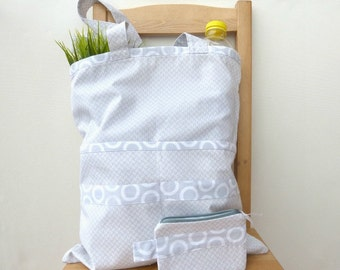 Grocery bag + zipped pouch, market bag, shopping bag, cotton tote