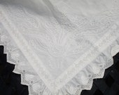 """RESERVED  Table topper or European Pillow Overlay, Embossed embroidery, French, Ruffle edging, Cottage chic, 30"""" square,"""