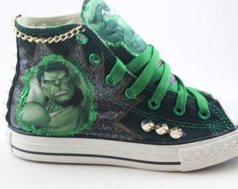 "CustomizedConverse Shoes ""Hulk""  / Customized Chuck Taylors"