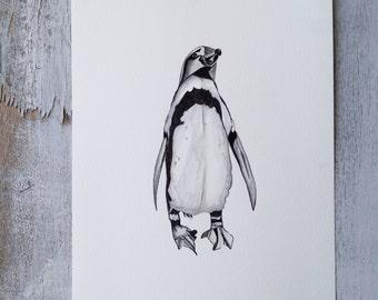 Original painting. Modern art.   watercolor painting. Animal art. Animals in watercolor. Penguin in watercolor. Kids room. children room.