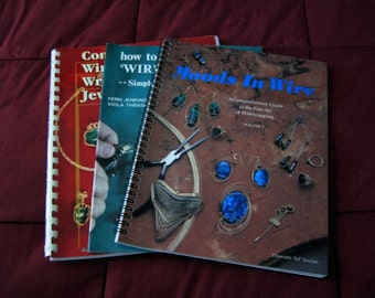 3) Wire Jewelry Making Books - Contemporary Wire Wrapped Jewelry, Moods in Wire, How to Make Wire Jewelry