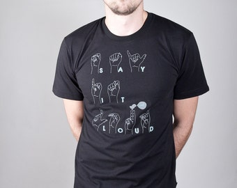 "Organic Shirt Men Black ""Say It Loud"""