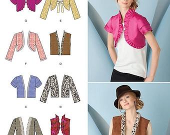 UNCUT Simplicity 1780 Cropped Jacket, Bolero, Shrug, Vest Pattern Size 6-8-10-12-14