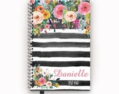 2016 Personalized Planner Calendar Agenda with Watercolor Floral on Black Stripes