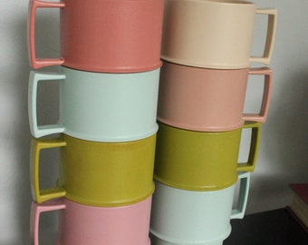 Set of 8 Vintage Stacking Tupperware mugs, Cups  Blue, Pink, Green, 1312 series, Tupperware 1312, lot of tupperware mugs
