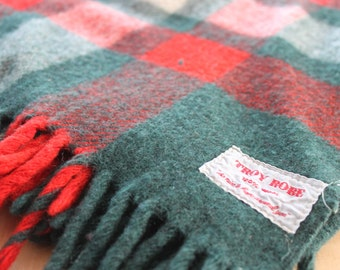 "Troy Robe vintage Picnic /Throw/ Beach Blanket red,white and green, wool with fringe 64"" by 48"", 100 % wool stadium blanket"