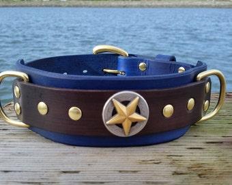Blue Leather Dog Collar, 2 inch Wide Collar, Royal Blue Pet Collar, Mastiff Collar XL