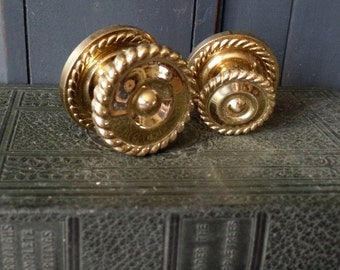 Vintage Hardware, Brass, Drawer Pulls, Knobs, Handles, Round, Braided, Furniture, Cabinets, Home Improvement