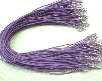 100pcs 17-19 inch 1.5mm adjustable purple  waxed cotton necklace cord with lobster clasp