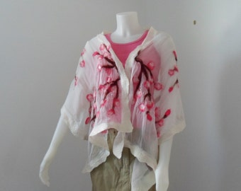 Nuno Felted Scarf / Shawl Cherry Blossoms