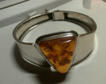 BALTIC AMBER Sterling Silver Hinged Bracelet