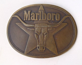 Vintage 1980s Marlboro Cigarettes Brass Belt Buckle