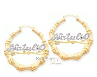 Bamboo Earrings with Nameplate - Diamond Beaded Earrings - Hip Hop Style Hoop Earring (order any name) - Two Tone Bling Yellow & White Gold