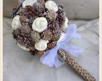 Winter Pine Cone Bridal Bouquet
