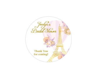 Personalized Bridal Shower Stickers, classy lavender and gold Parisial bridal shower sticker favors