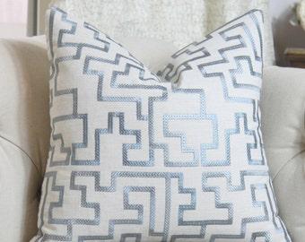 Blue Geometric Cover - 20 x 20 Blue Grey Pillow - Designer Greek Key Pillow - Powder Blue Throw Pillow - Motif Pillows