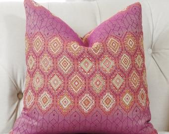 Pink Moroccan Pillow Cover - Modern Pink Orange Pillow Cover - Designer Throw - Fuchsia Woven Multi Colored Geometric Pillow - Motif Pillows